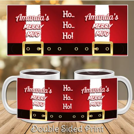 Personalised Christmas Xmas Novelty Santa Gift Mug N26 Any Name 's Merry Mug